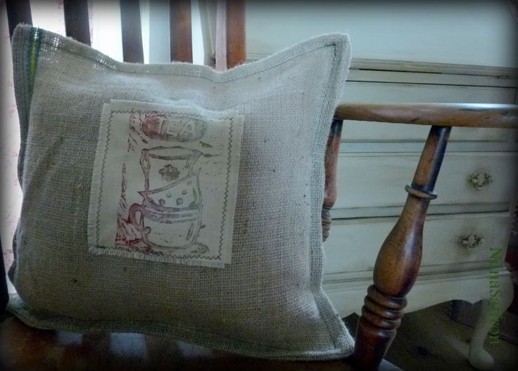 I made this scatter cushion from off cuts of hessian/old coffee sack and used one of my lino cut prints to aplique NiinaSaffron Design www.etsy.com