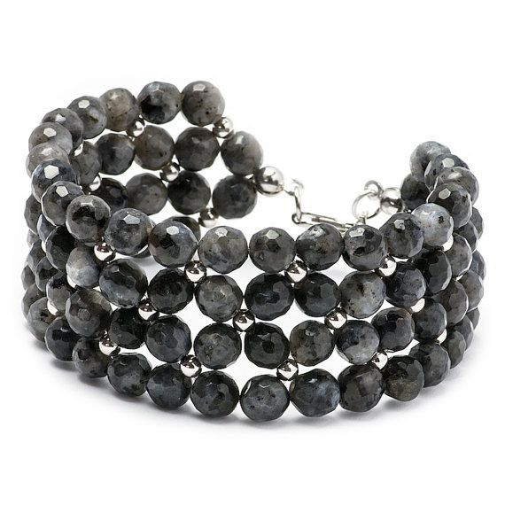 Beaded Grey Bracelet Gemstone Bracelet Rhodium Plated by MYNESS