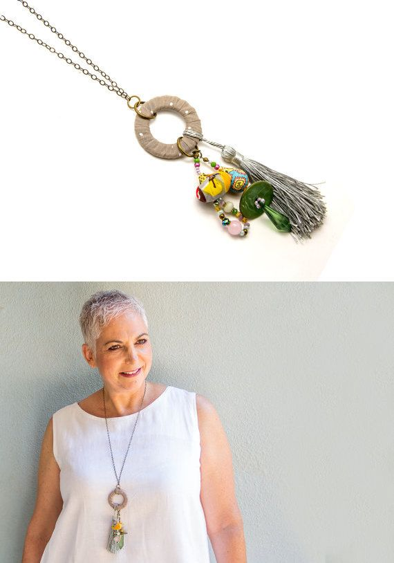 Long fabric pendant necklace  Textile Charm Pendant by ATLIART