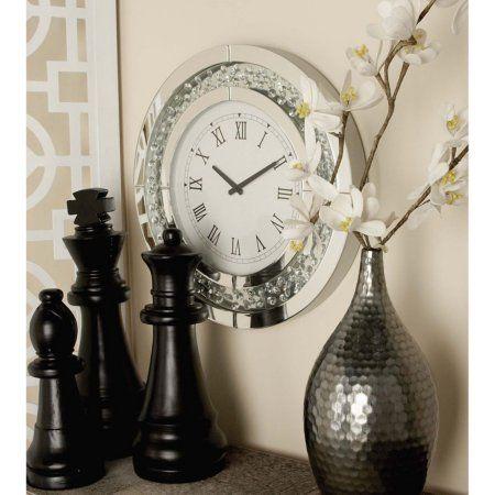 Decmode Wood Mirror Wall Clock, Multi Color, Multicolor
