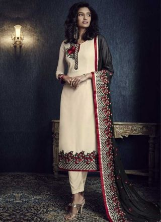 Beige Black Embroidery Booti Work Georgette Santoon Designer Pakistani Suit http://www.angelnx.com/Salwar-Kameez/Pakistani-Suits