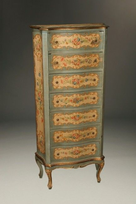 italian polychromed lingerie chest in louis xv style with serpentine drawers circa 1920s