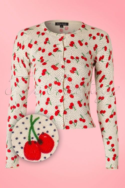 King Louie ~ 50s Celine Cherries Cardigan in Cream