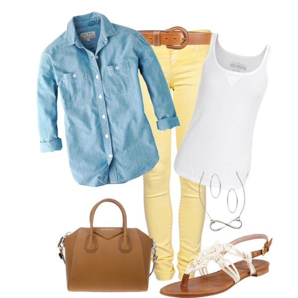 Yellow Skinny Jeans :). Love the denim shirt with any color skinnies!