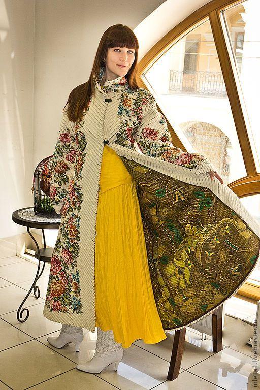 пальто в технике синель Весеннее цветение