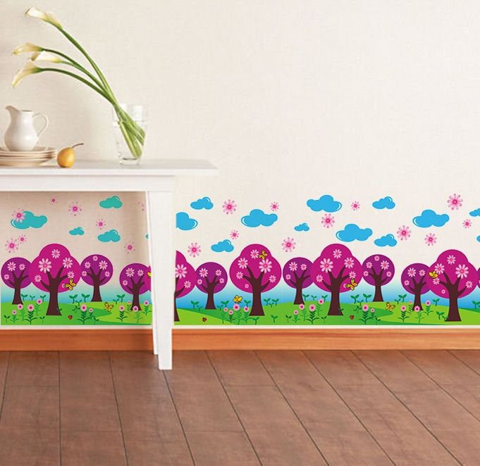 purple wall stickers kids tree decals cartoon flower baseboard stickers large border wallpaper decoration for nursery classroom #Affiliate