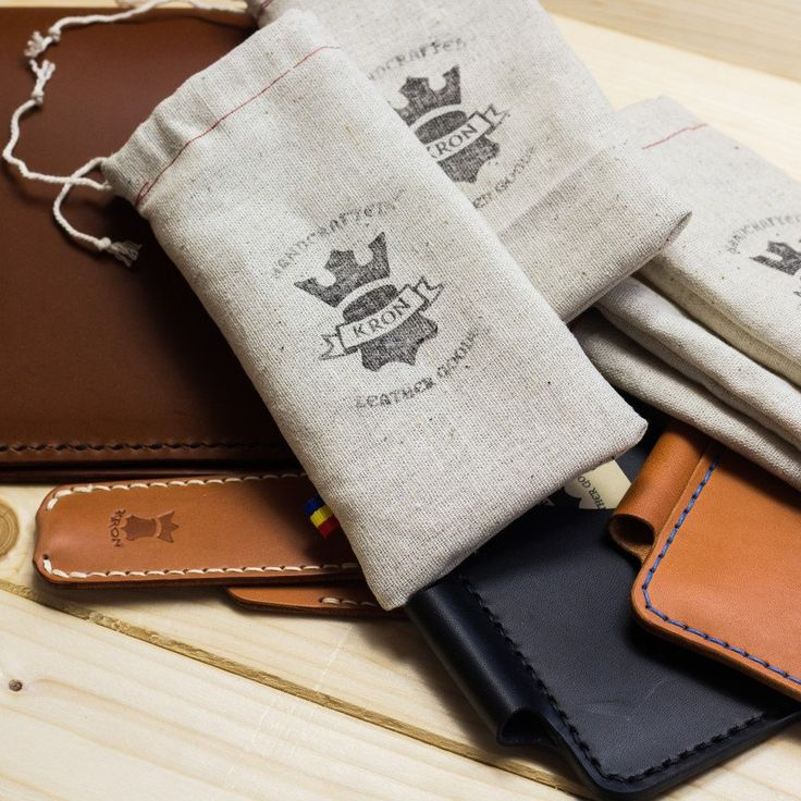 Homemade linen bags for the safe arrival of your leather goodies. #kron #handcrafted #leather #accessories #wallet #notebook #stationery #edc #carry #gear