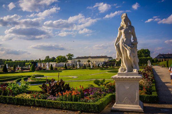 garten, blumen, kultur, wolken, schloss, herrenhäuser-gärten, statue, großer-garten, kleines-fest