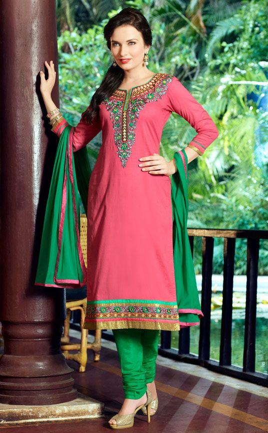 USD 30.44 Pink Cotton Embroidery Churidar Suit 48042
