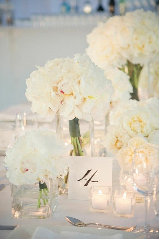 White PeoniesIdeas, White Flowers, Tables Sets, White Centerpiece, White Weddings, Tables Numbers, White Peonies, Centerpieces, Center Piece