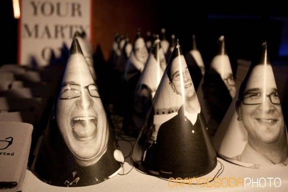 Party hats with the birthday boy's face on them and other Mens birthday party ideas - so fun! would be great for a wedding.