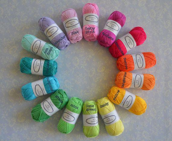 15 balls Cotton Yarn Rainbow Colours Granny Kit by CrochetObjet, $54.00