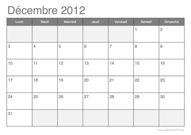 calendrier d u00e9cembre 2012