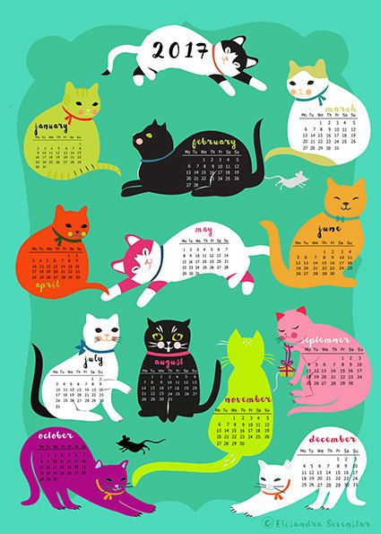 Cats Calender 2017-downloadable and self printable by sevenstar