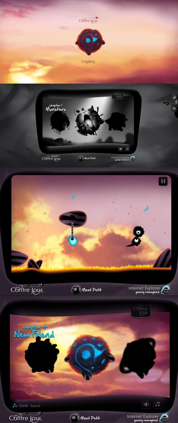 The site, a #HTML5 version of the iOS #game, blurs the lines between #interactive art and #gaming. It is one of the most ambitious use of HTML5 to date and on IE, the site also showcases the future of #touch on the #web.   19/03/2013  www.contrejour.ie