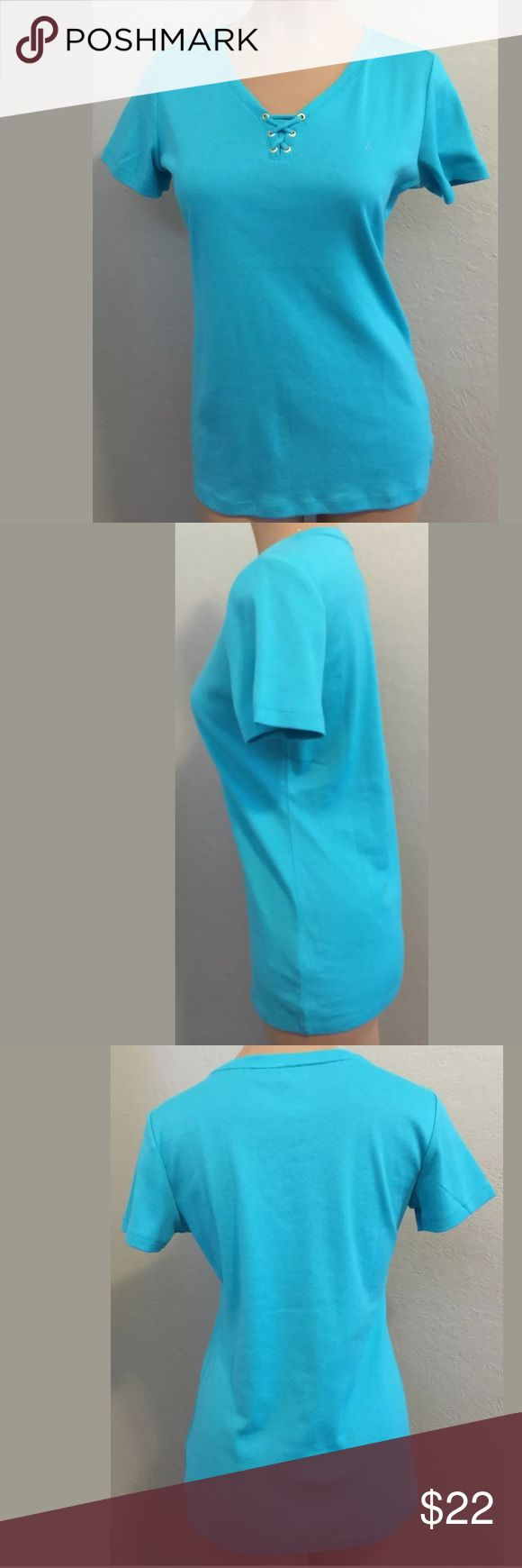 "Nautical small turquoise t-shirt top short sleeve NWT Nautica size small turquoise t-shirt top, short sleeve. 100% cotton. Bust 18"" armpit to armpit Length 25 1/4"" shoulder to hem. Measurements are approximate. Nautica Tops Tees - Short Sleeve"