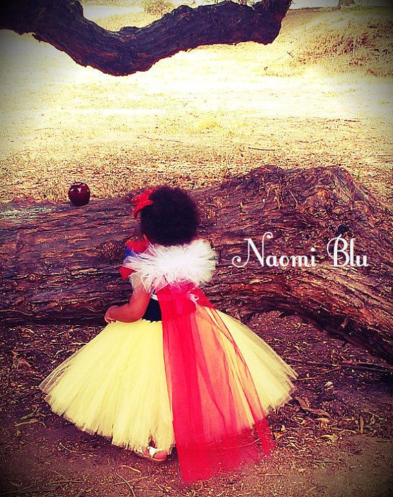 Storybook Disney Snow White Inspired Tutu dress glitter elastic headband. Great for costumes, photos, themed birthday