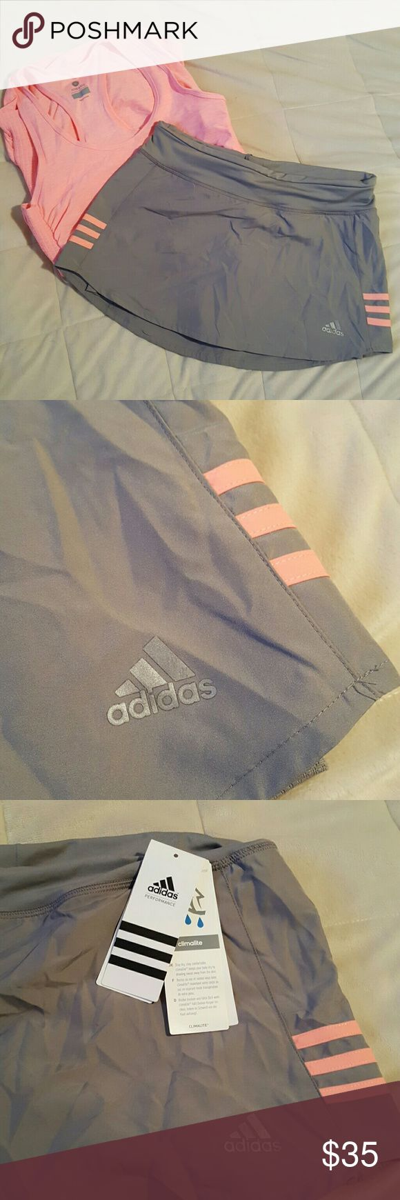 Adidas Response  Skort gray Tennis skort, very cute, brand new. Adidas Shorts Skorts