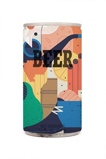 flat design на банке пива