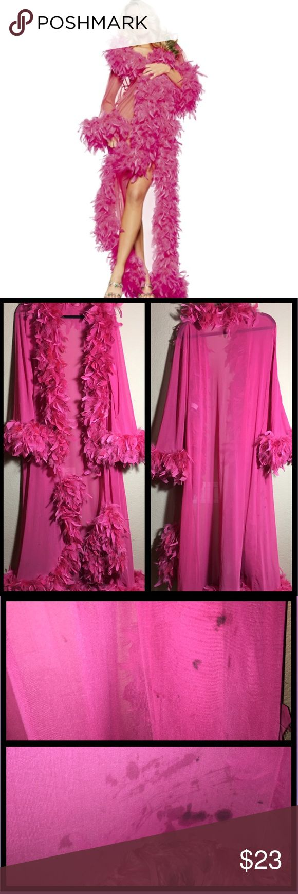 Be Wicked! Long Robe w/Chandelle Boa Good used condition. Two spots on the front the boa needs to be tacked down. Small dark spots on back of right hip and stains on the back bottom hem (was used as part of a Halloween horror nights costume).                         No Trades, No Holds                     Bundle for a discount.            Offers welcome, everything must go                            by March 2017! be Wicked! Intimates & Sleepwear Robes