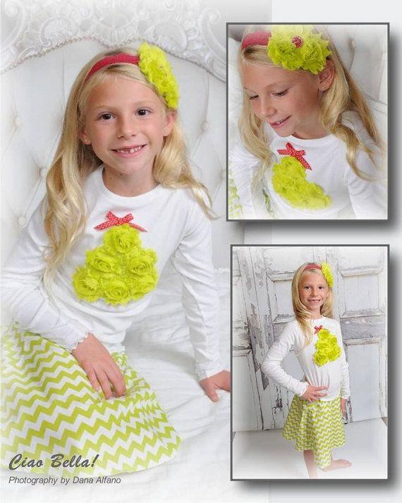 Chiffon Christmas Tree Shirt, Toddler Christmas Outfit, Girl Christmas Outfit, Christmas Outfit for Girls, Sizes 2T, 3T, 4T, 6, 8