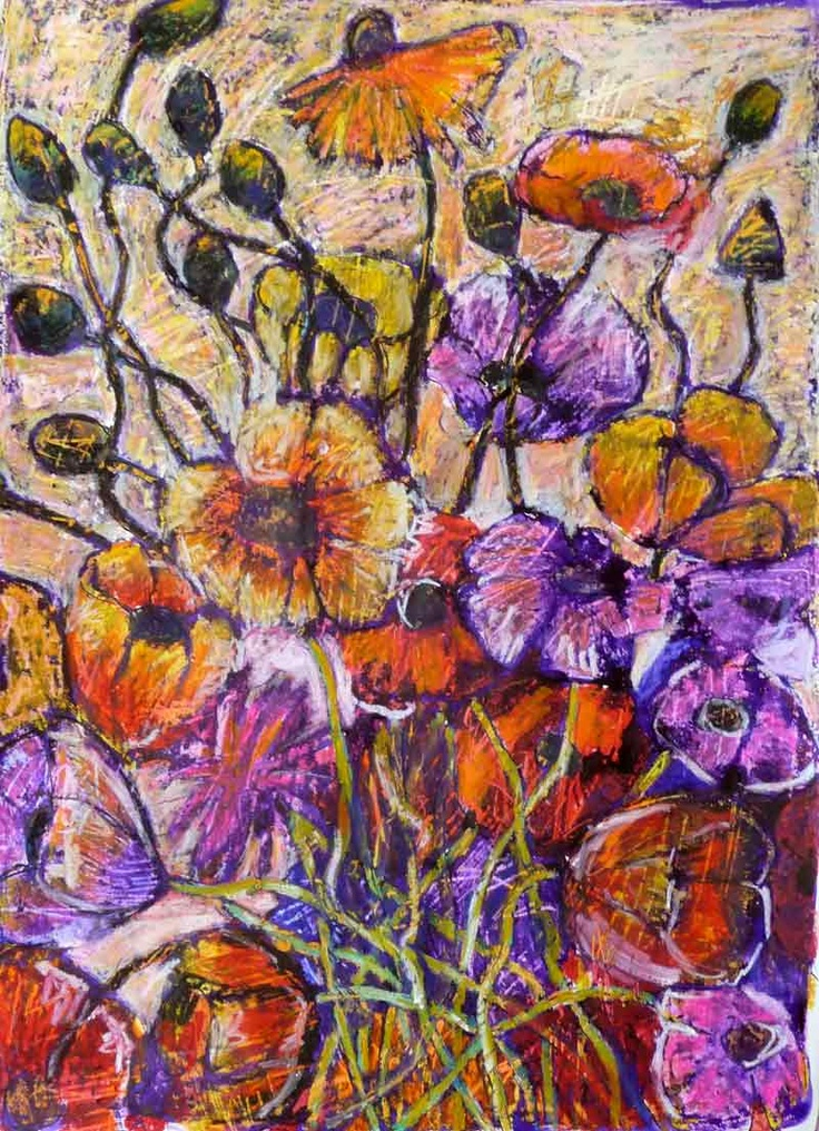 """Sparkling dew"" by Jeremy Holton I love painting flowers especially poppies. I enjoy the colours of the blossoms and the tangles of the stems which give me lots of opportunities to entwine line and colour. The work is on Arches cotton rag watercolor paper using Artists Quality oil pastels and pigmented inks.  #flower #poppies $2100"