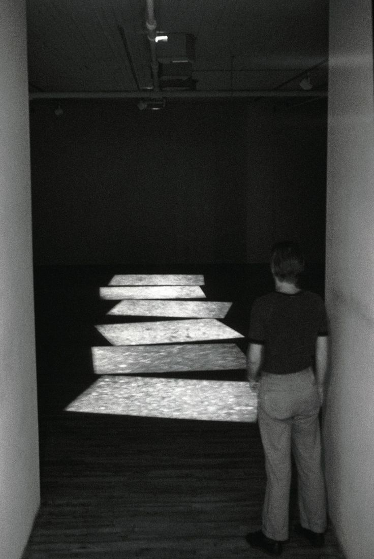 """""""Migration,"""" Super 8 film loop (1975)The film on view in a gallery installation."""