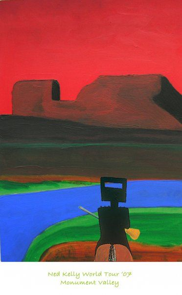 For Sydney Nolan - Ned Kelly On Tour Poster from original - acrylic on board via Flickr jeff hubbard