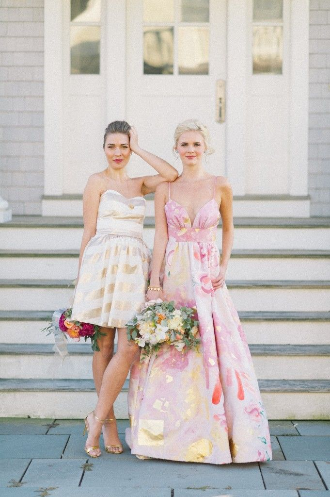 This week's {Picture of the Week} celebrates the commencement of our Kate McDonald Bridal & LulaKate trunk show! How fabulous is this hand-painted wedding gown? Photography: Kat Harris Design: True Event Styling: Beth Chapman Floral: Hana Floral Design Hair: Emily Reale Makeup: Jennie Fresa Gown: Kate McDonald Bridal Bridesmaid Dress: LulaKate Earrings: Haute Bride Necklace: Aquinnah Jewelry #floralweddinggown