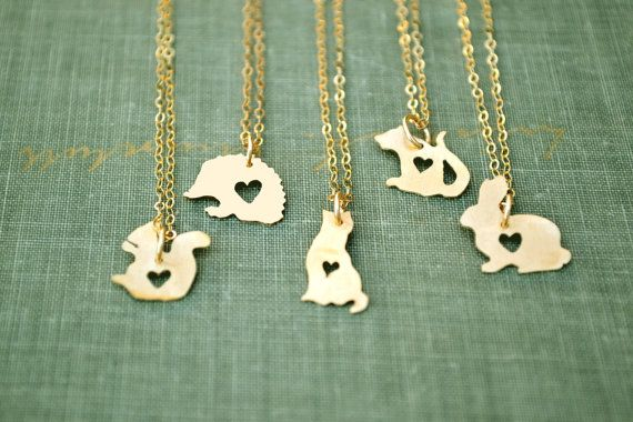 tiny gold animal silhouette necklace .... hedgehog