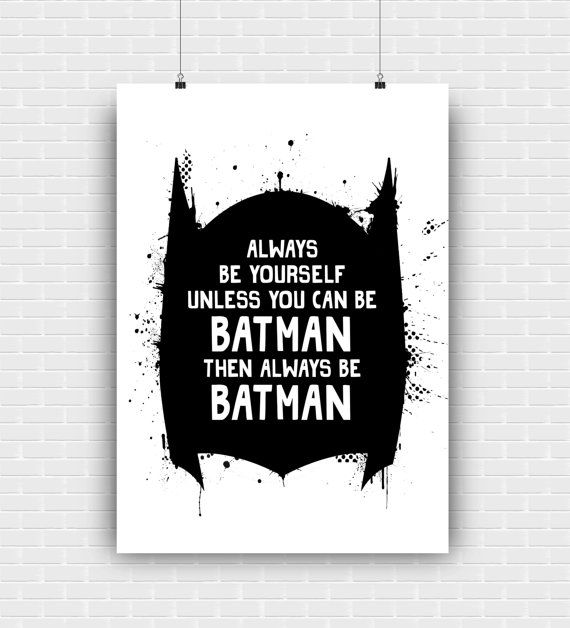 Batman art print wall decoration quote. Superhero by GraphicCorner