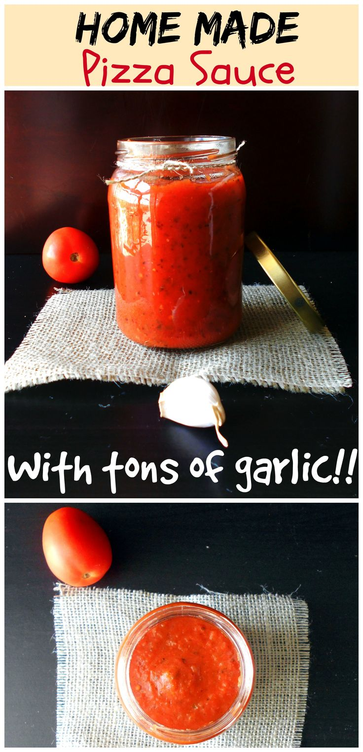 This Pizza Sauce is made with fresh ingredients.  Has Fresh tomatoes, bell peppers and onions roasted.  Did I mention that there is tons of garlic in this pizza sauce?
