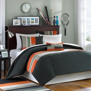 teen boy bedding | Full Boy Teen Dorm Grey Orange Comforter Bedding Set | eBay   Ethans favorite