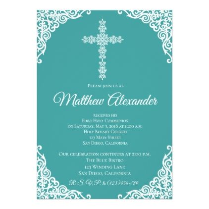 Turquoise Modern Cross First Communion Invitation Girl Gifts