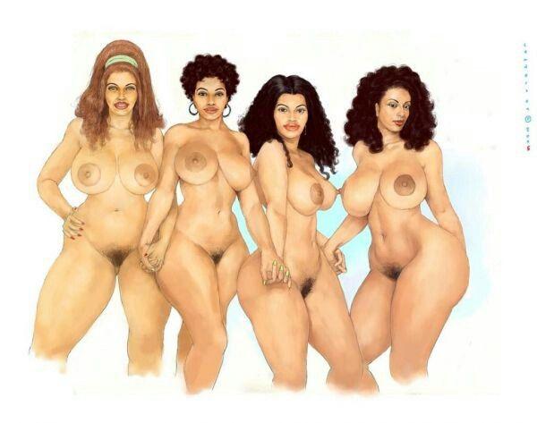 Полные голые нарисованные женщины