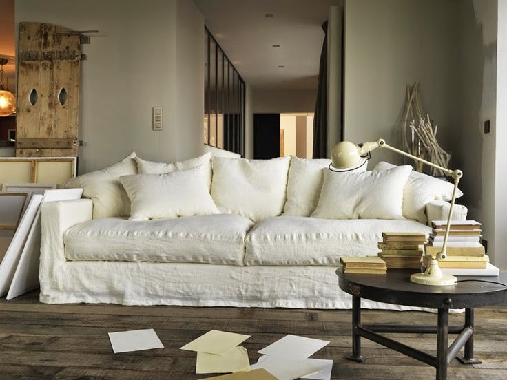 Best 25 linen sofa ideas on pinterest velvet pillows for White linen sectional sofa
