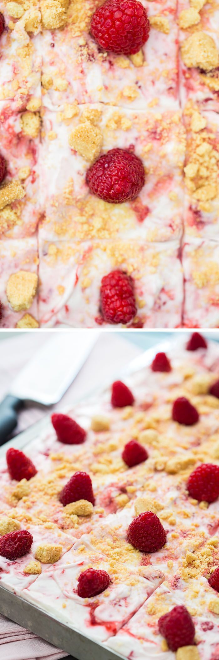An easy recipe for Raspberry Fool Sheet Cake. Delicious, moist yellow Texas Sheet Cake iced with raspberry fool. Summer crowd pleaser: perfect for potlucks!