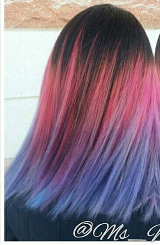 Pink purple ombre dyed hair