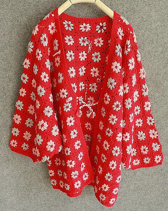 tie-front granny square crochet sweater cardigan kimono sleeve
