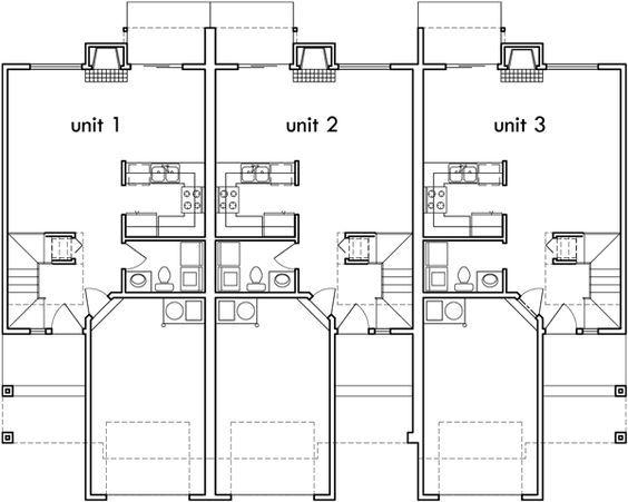 88 best triplex and fourplex house plans images on for Fourplex apartment plans