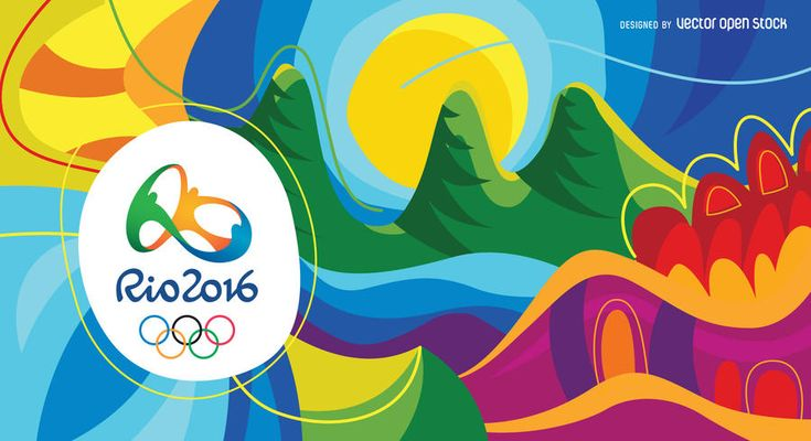 Hand-drawn, bright colored Rio Olympics background. Abstract designs of the most relevant natural features of Rio de Janeiro. Space available to add content or text. Perfect to enhance any publication related to 2016 Olympic Games. Be enthusiastic! Enjoy Olympics 2016! Rio 2016 logo can only be used for editorial use or with the proper authorization. Copyrights may apply.