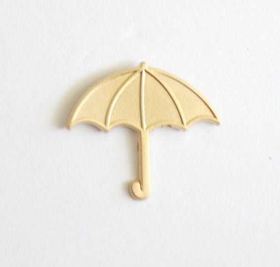 Matte Gold Small Umbrella Lapel Pin // 1.25 no enamel