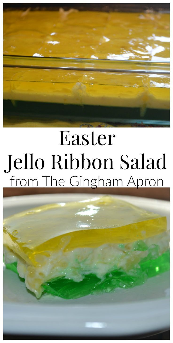 Easter Jello Ribbon Salad- a vintage, refreshing, delicious jello salad that your family will love this Easter.