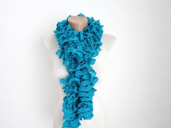 Teal Blue Knit Scarf Fall Fashion Frilly scarf by scarfnurlu