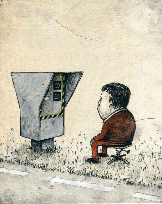 De l'addiction aux écrans... / Street art. / By Dran.
