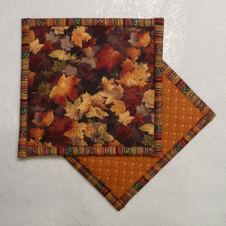 Autumn Leaf Pot Holder, Autumn Leaf Hot Pad, Autumn Leaf Mug Rug by QueenBeeStitcheryTX on Etsy