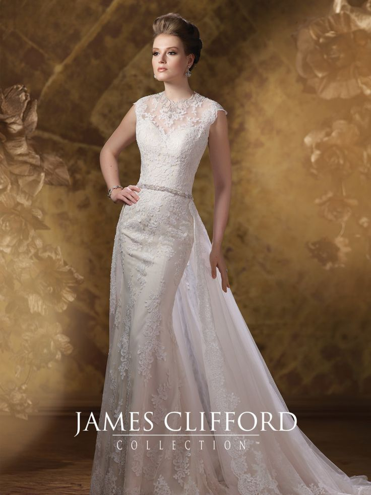 Popular James Clifford Collection J Tulle and corded lace over crepe back satin slim fit