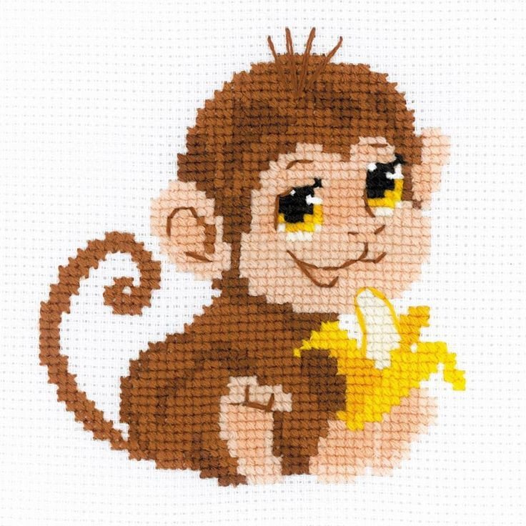 """Monkey Counted Cross Stitch Kit-6""""X6"""" 10 Count"""