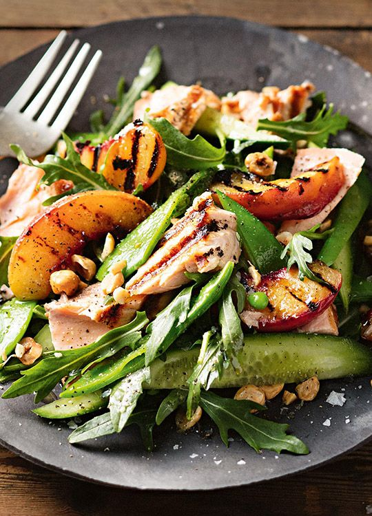 How to make Chargrilled Peach & Salmon Salad