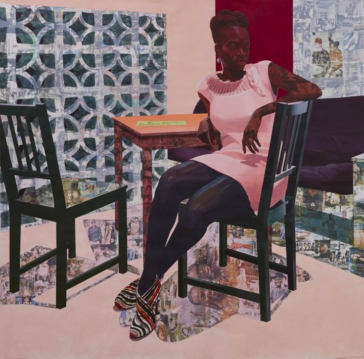 Njideka Akunyili Crosby, Predecessors Left Panel, 2013. Acrylic, colored pencil, charcoal and transfers on paper, 7 ft. x 7 ft.